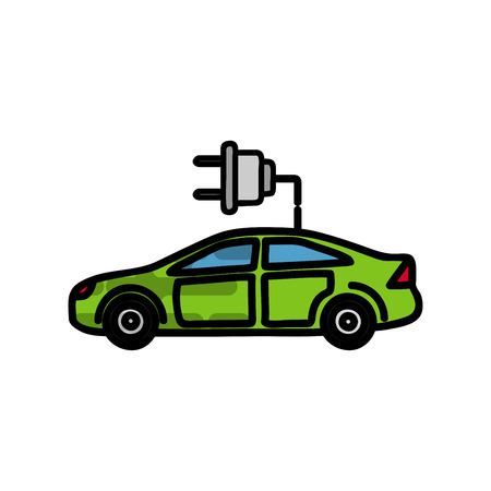 Electric car flat icon. Ecological character. Vector illustration
