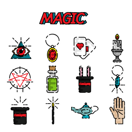 Magic and magician tools. Flat style color vector symbols isolated on white. Illustration