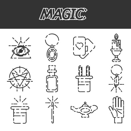hocus pocus: Magic and magician tools. Flat style color vector symbols isolated on white. Illustration