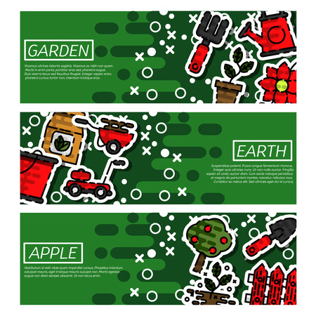 pruning: Set of Horizontal Banners about garden isolated vector illustration
