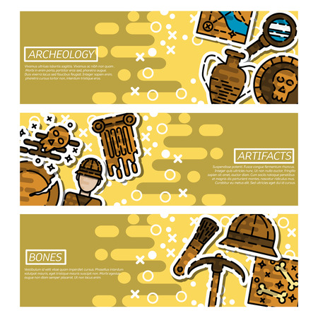 archeology: Set of Horizontal Banners about archeology. History vector illustration Illustration