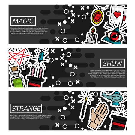 dimond: Set of Horizontal Banners about magic. Vector illustration Illustration