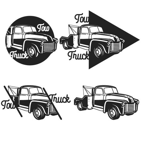 Vintage car tow truck emblems, labels and design elements Illustration