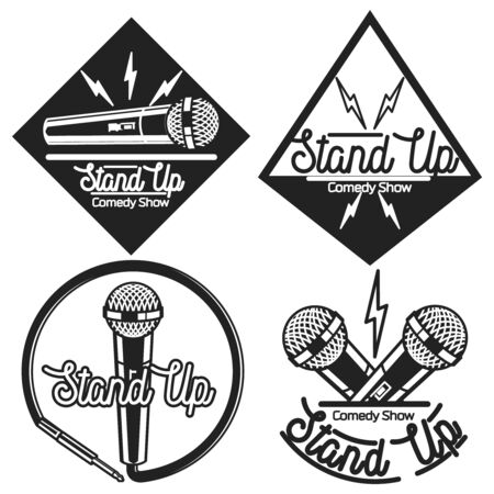 comedy: Set of vector stand up comedy logos and badges at white brick background. Modern and retro microphones. Hipster style labels and banners for print and web design. Illustration