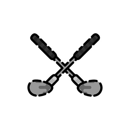 game equipment: Golf game equipment and player flat icon isolated vector illustration