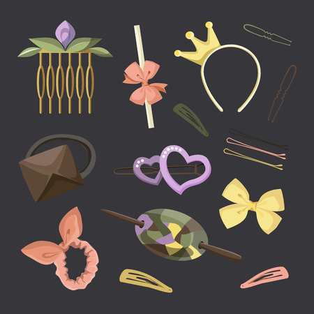 hairpin: Hair Accessories Object Set, Headband, Comb Hairpin Elastic Illustration