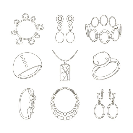 Jewelry realistic set with earrings bracelet and rings isolated vector illustration