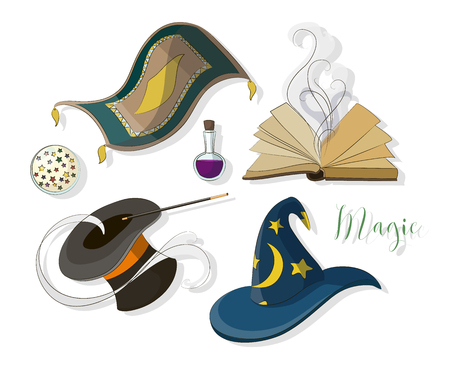 Magic icon set. Magic party. Vector illustration
