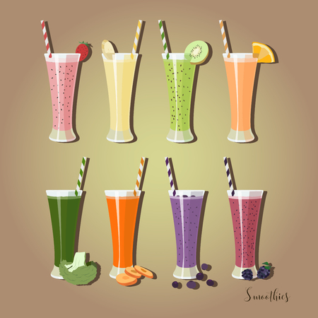 woman drinking milk: Set smoothies with different Ingredients.The collection of health drink. Fruit cocktails.