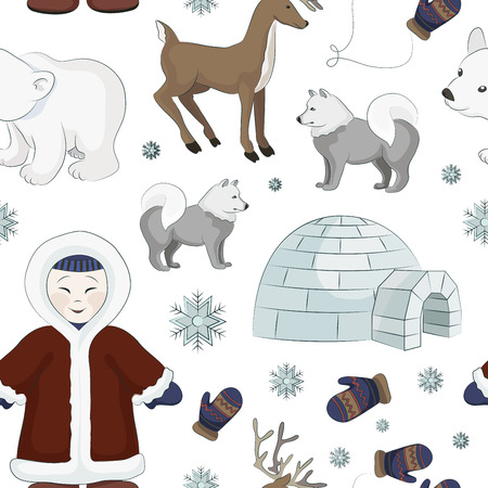 eskimo dog: Vector set of eskimo characters pattern with igloo house, dog, white bear and penguins. People in traditional eskimos costume and arctic animals.