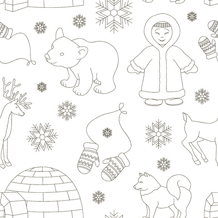 Vector set of eskimo characters pattern with igloo house, dog, white bear and penguins. People in traditional eskimos costume and arctic animals.