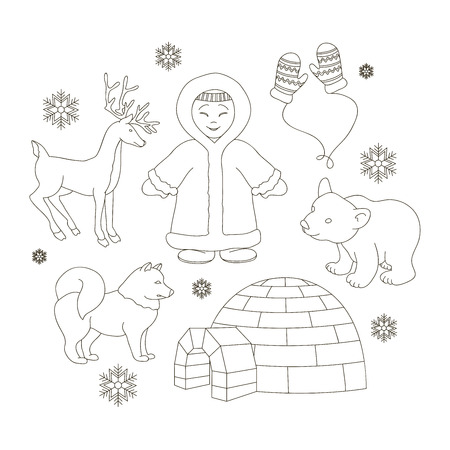 eskimo woman: Vector set of eskimo characters with igloo house, dog, white bear and penguins. People in traditional eskimos costume and arctic animals.