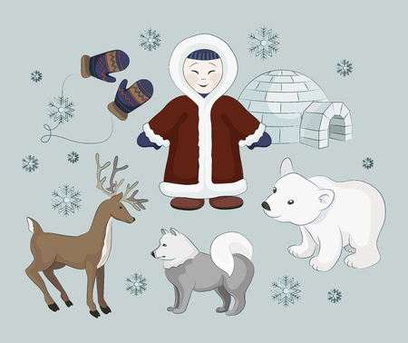 eskimos: Vector set of eskimo characters with igloo house, dog, white bear and penguins. People in traditional eskimos costume and arctic animals.