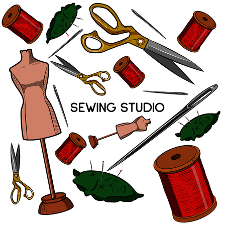 Colored hand drawn sewing icons set. Vector illustration