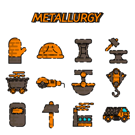 metalworking: Metallurgy flat icon set . Vector Illustration. Isolated Flat Icons collection on a white background for design