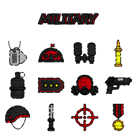 explosive gas: Vector military icons set, flat design. Vector illustration