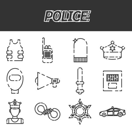 clock radio: Police icon set. Flat style bright concept. Vector illustration for colorful template for you design, web and mobile applications