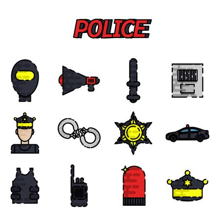 electroshock: Police flat icon set. Flat style bright concept. Vector illustration for colorful template for you design, web and mobile applications