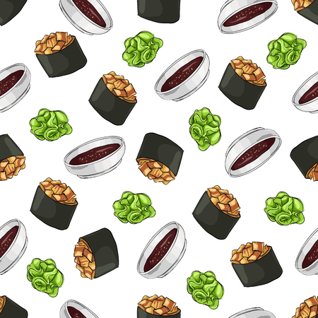 Seamless pattern of sushi Gunkan Spicy Unagi with wasabi and soy sauce, color