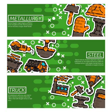 Set of Horizontal Banners about Metallurgy. Vector illustration