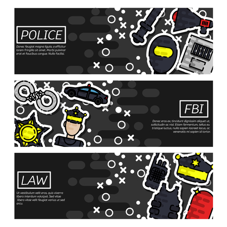 enforcer: Set of Horizontal Banners about police vector illustration