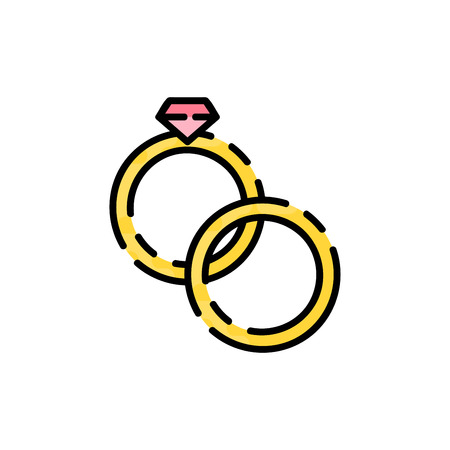 Wedding flat icon for your design. Wedding rings. Vector illustration