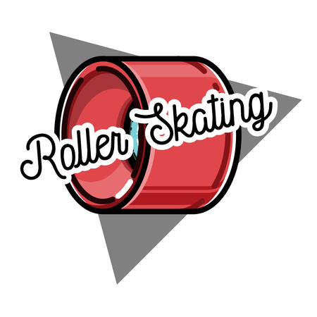Vector illustration of roller skating label, badge, emblem isolated on white. Good for tee design and t-shirt, web projects. Typographic background