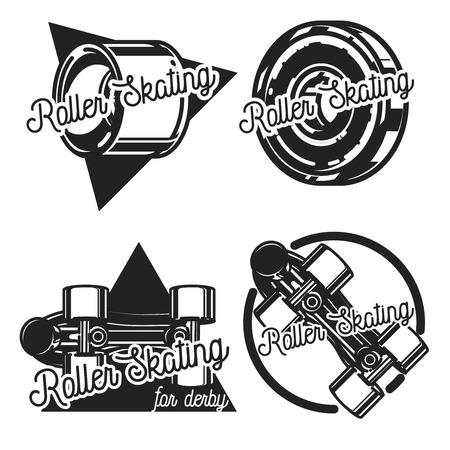 roller skating: Vector illustration of roller skating, roller skater man labels, badges and graphic design elements.