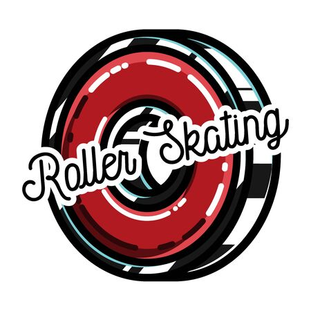 Ilustración del vector de la etiqueta de patinaje sobre ruedas, emblema aislado en blanco. Bueno para diseño de la camiseta y camiseta, proyectos web. Tipográfico