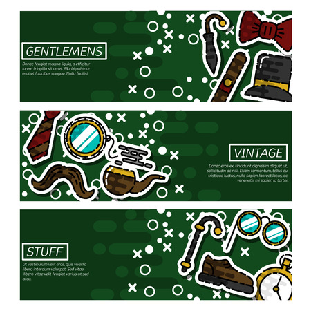 smocking: Set of Horizontal Banners about Gentlemens vintage stuff