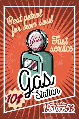 Poster van het kleuren de uitstekende benzinestation en ontwerpelementen. Vector illustratie Stock Illustratie