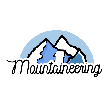 mountaineering: Color vintage mountaineering emblem. Ski Resort labels collection.
