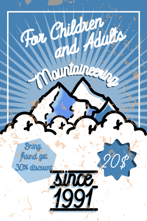 Color vintage mountaineering poster. Ski Resort labels collection.