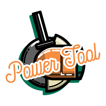 Color vintage power tools store. Electric hand tools for carpentry and home renovation. Construction power equipment.