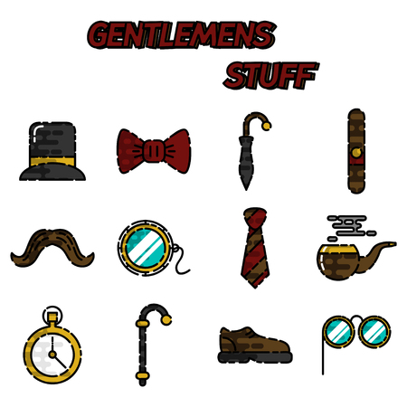 englishman: Gentlemens vintage stuff flat icon set and design elements collection