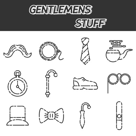englishman: Gentlemens vintage stuff icon set and design elements collection Illustration