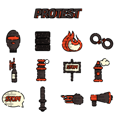 condemnation: Protest flat icon set, illustrations, graphic design objects. Vector illustration Illustration