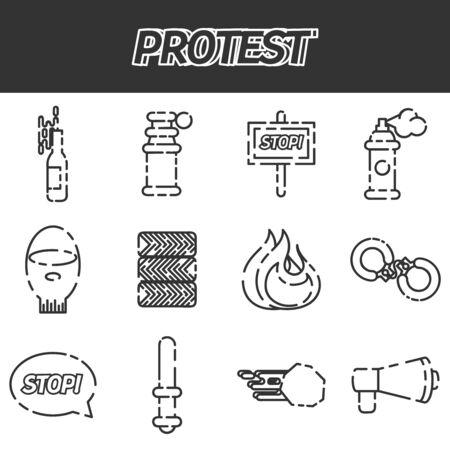 condemnation: Protest icon set, illustrations, graphic design objects. Vector illustration