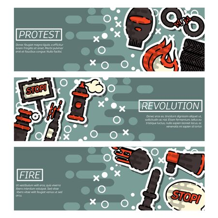 condemnation: Set of Horizontal Banners about Protest . Vector illustration