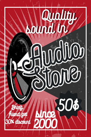 headstock: Vintage audio store poster. Music studio, radio and shop labels with sample text. Music icons for audio store, recording studio label, podcast and radio station, branding and identity.
