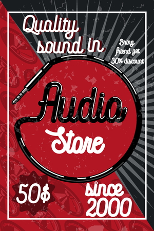 radio station: Vintage audio store poster. Music studio, radio and shop labels with sample text. Music icons for audio store, recording studio label, podcast and radio station, branding and identity.