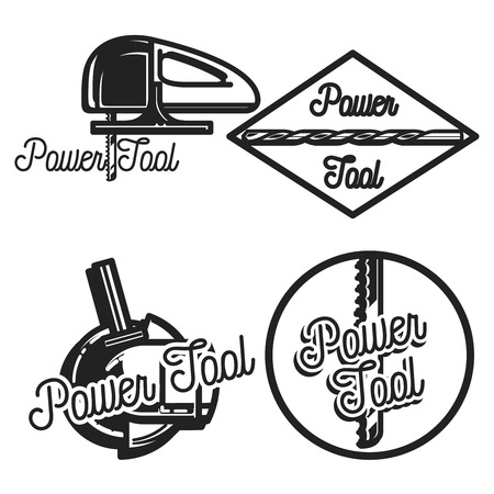 power tools: Vintage power tools store logos, emblems, silhouettes and design elements.