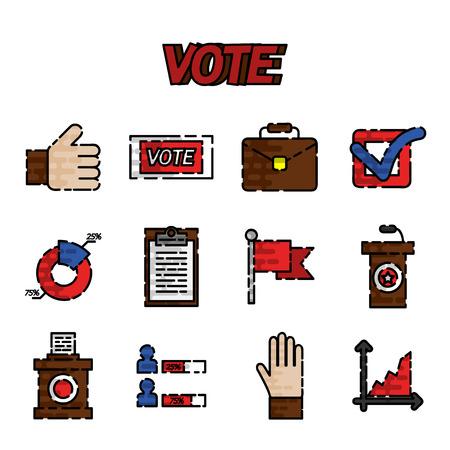 encuestando: Votar iconos planos establecidos. Referéndum de votación y de los votantes elección, ilustración vectorial