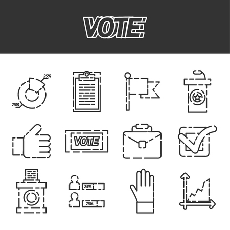 polling: Vote icons set. Referendum polling and choice voter, vector illustration