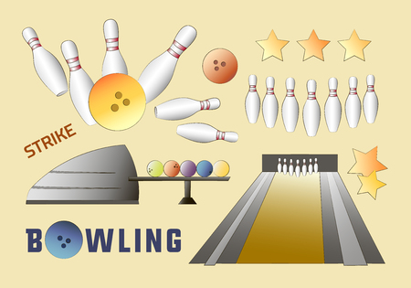skittles: Bowling icons set with ball, skittles and other. Sport design