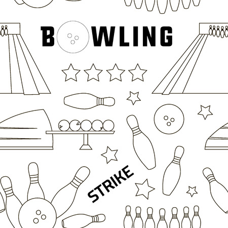 skittles: Bowling icons set pattern with ball, skittles and other. Sport design Illustration