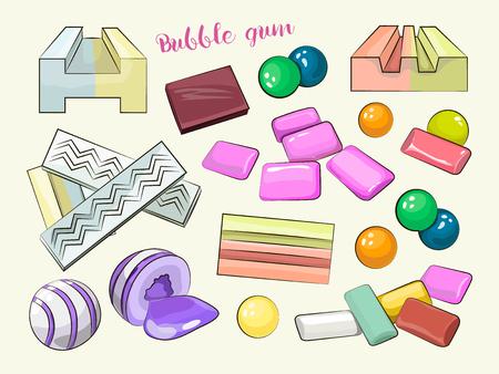 bubble gum: Bubble gum set. Vector illustration Illustration