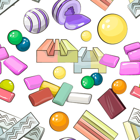 Bubble gum set pattern. Vector illustration