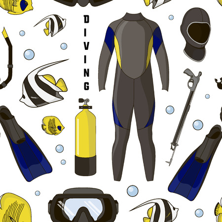 deep sea diver: Diving equipment pattern. Aqualung, oxygen cylinders, depth gauge, flashlight, snorkel and mask, flippers and gloves and speargun Illustration