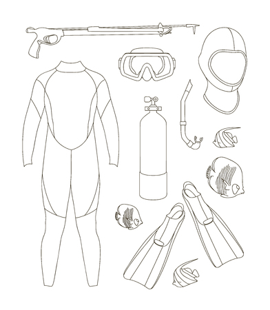 aqualung: Vector icons set of diving equipment. Aqualung, oxygen cylinders, depth gauge, flashlight, snorkel and mask, flippers, gloves and speargun